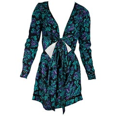 Teal & Purple Zimmermann Long-Sleeve Floral Romper
