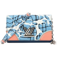 Louis Vuitton Twist Chain Wallet Limited Edition Aqua Print Epi Leather