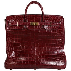 Hermes Burgundy Crocodile HAC travel Birkin Bag, 1972