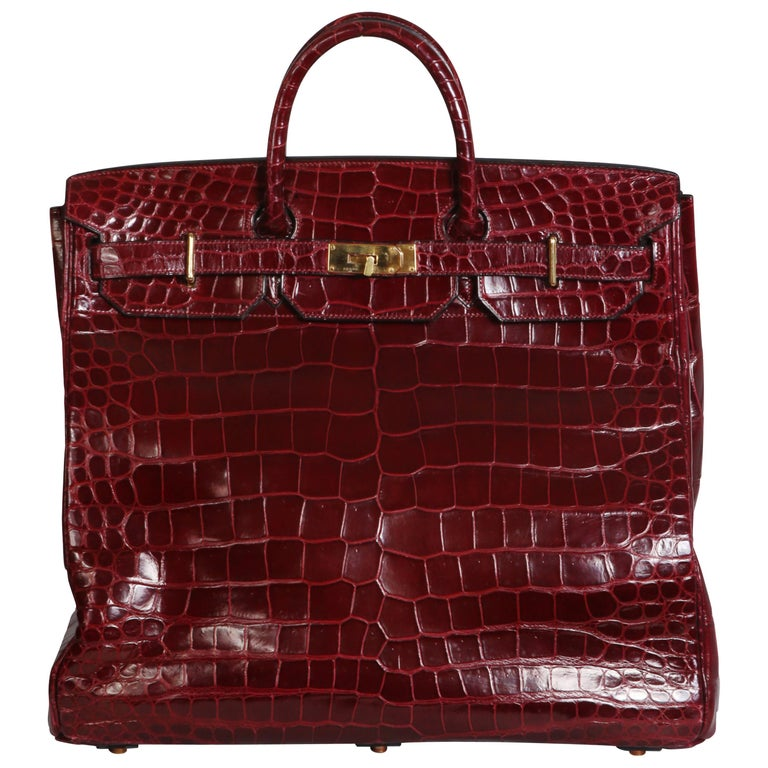 134c39f1eb16 Hermes Burgundy Crocodile HAC travel Birkin Bag