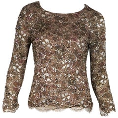 Multicolor Chanel Couture Beaded Lace Top