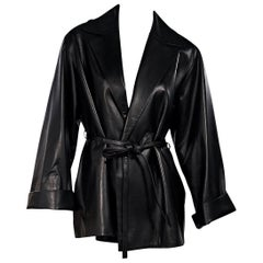 Black The Row Leather Belted Jacket