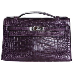 Hermes Purple Croc Pochette, 2008