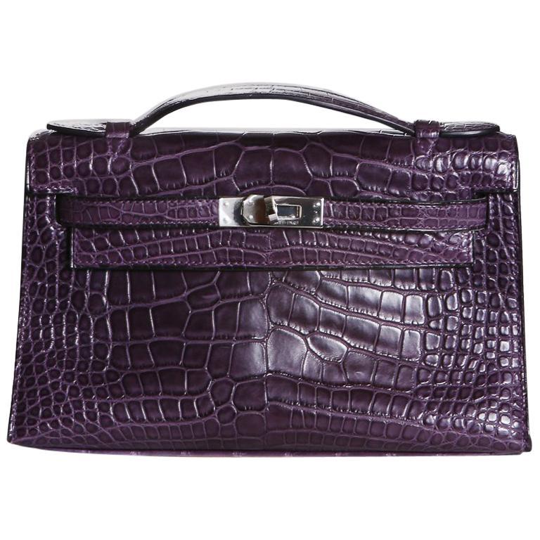 Hermes Purple Croc Pochette, 2008 For Sale
