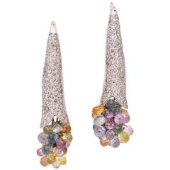 Diamond Earrings with a  Dangling Bouquet of Colored  Gemstones