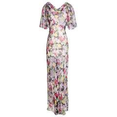 Vintage 1940s Floral Chiffon Gown, unknown designer