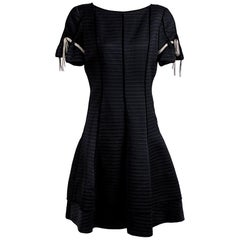 Valentino Quilted Silk Dress with Silk Shoestring Ties on Sleeves, vintage