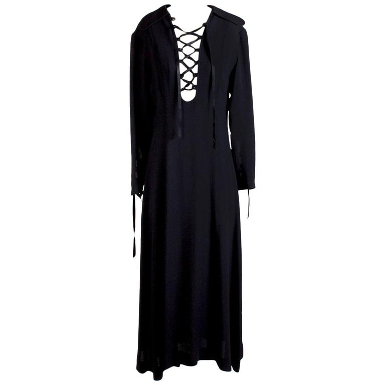 Ossie Clark Peasant Dress with Ribbon Corset Ties on Sleeves and Bust, vintage