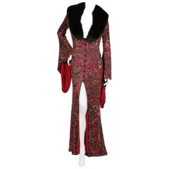Escada Beaded Long Coat with Fur Collar, circa 1970s