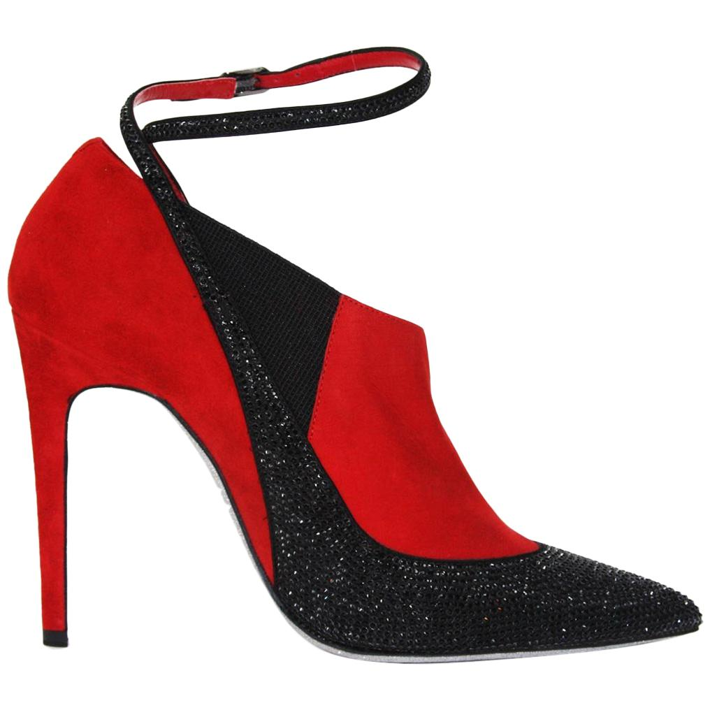 New Rene Caovilla Suede Beaded Glitter Red Black Ankle Boots Booties 39.5 - 9.5