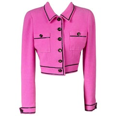 Chanel Cropped Hot Pink Jacket with Black Piping, Spring 1995