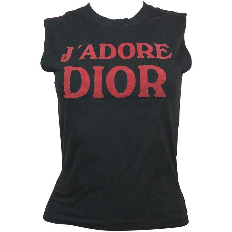 Christian Dior J'Adore Dior Logo T-Shirt in Black, AW 2001, Size 8 US