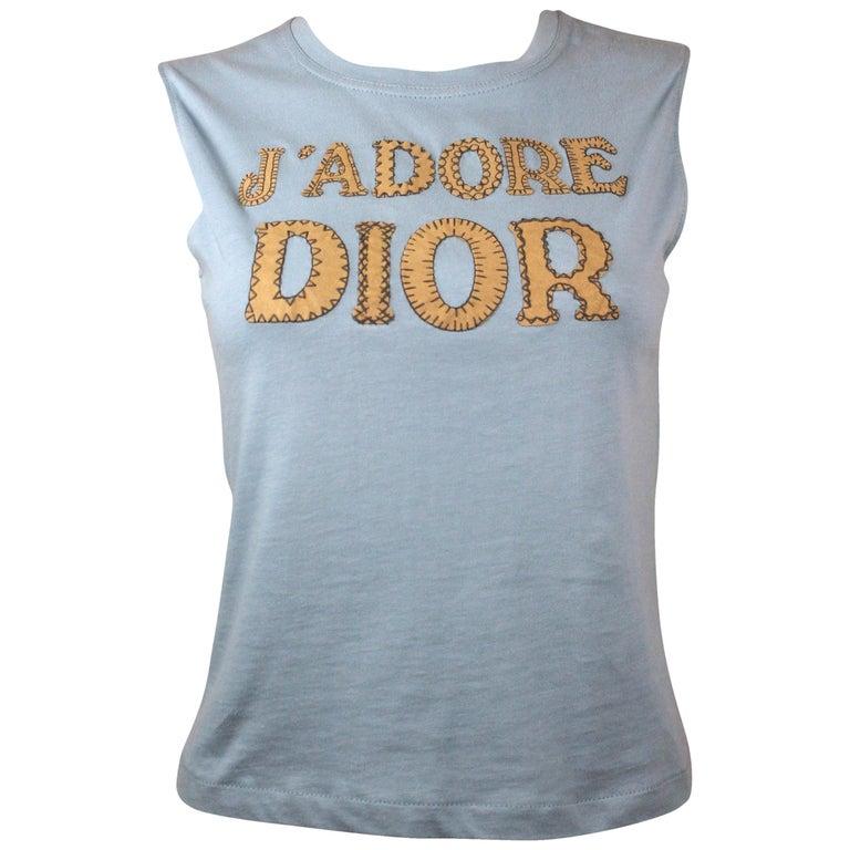 Christian Dior J'Adore Dior Logo T-Shirt in Light Blue, AW 2001, Size 8 US