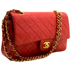 "CHANEL Red 2.55 Double Flap 10"" Chain Shoulder Bag Quilted Lamb"