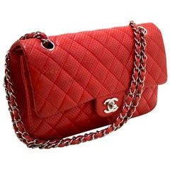 CHANEL Red Punching Leather Double Flap Chain Shoulder Bag Quilted