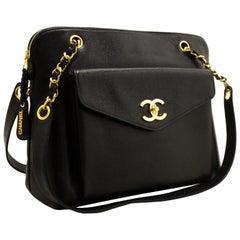 CHANEL Caviar Large Chain Shoulder Bag Black Leather Gold Hardware
