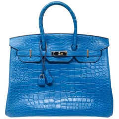 Hermes Paris Birkin 35 Alligator Mississippiensis Blue Mykonos Mat Bag, 2012