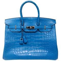 89814110bcae Hermes Paris Birkin 35 Alligator Mississippiensis Blue Mykonos Mat Bag
