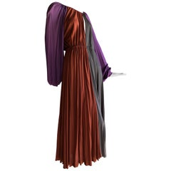 Galanos Silk Jersey Purple / Rust / Taupe Balloon Sleeve Custom Made Dress, 70s