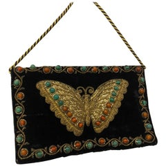 1970s Black Velvet Handbag With Embroidered Butterfly & Semi-Precious Stones