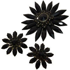 1950s Coordinating Black Lucite Flower Brooch & Black Jet Glass Clip Earrings