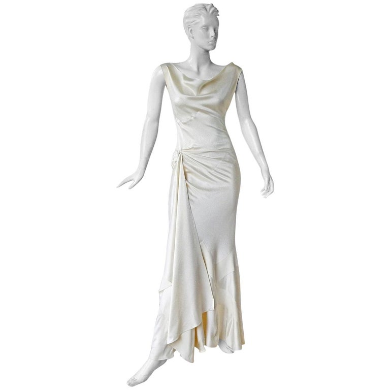Christian Dior by John Galliano 1930's Harlow Inspired White Silk Gown Dress
