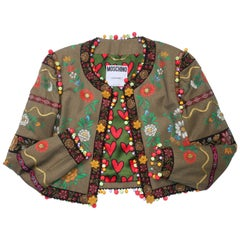 Moschino Couture Floral Painted Tweed Jacket With Bead Trim