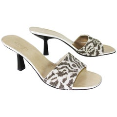 New Tom Ford for Gucci Beaded Animal Print Shoes Slides US 9 B - Eur. 39 B