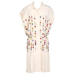 Vintage Cream Silk Dress with Beading and Pleating by Karl Lagerfeld for Chloe