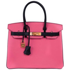 Hermes Birkin 30 Bag HSS Rose Lipstick Black Chevre Brushed Gold Hardware