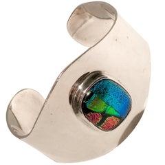 70'S Taxco Mexico Modernist Sterling 925 Silver & Art Glass Cuff Bracelet-