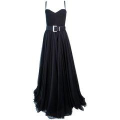ELIZABETH MASON COUTURE 'LIZETTE' Black Silk Chiffon Gown