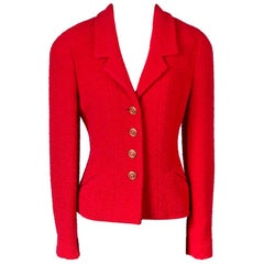 Chanel Red Boucle Jacket