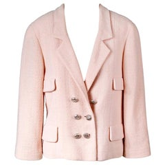 Chanel Blush Pink Double Breasted Wool Jacket, Spring 1999