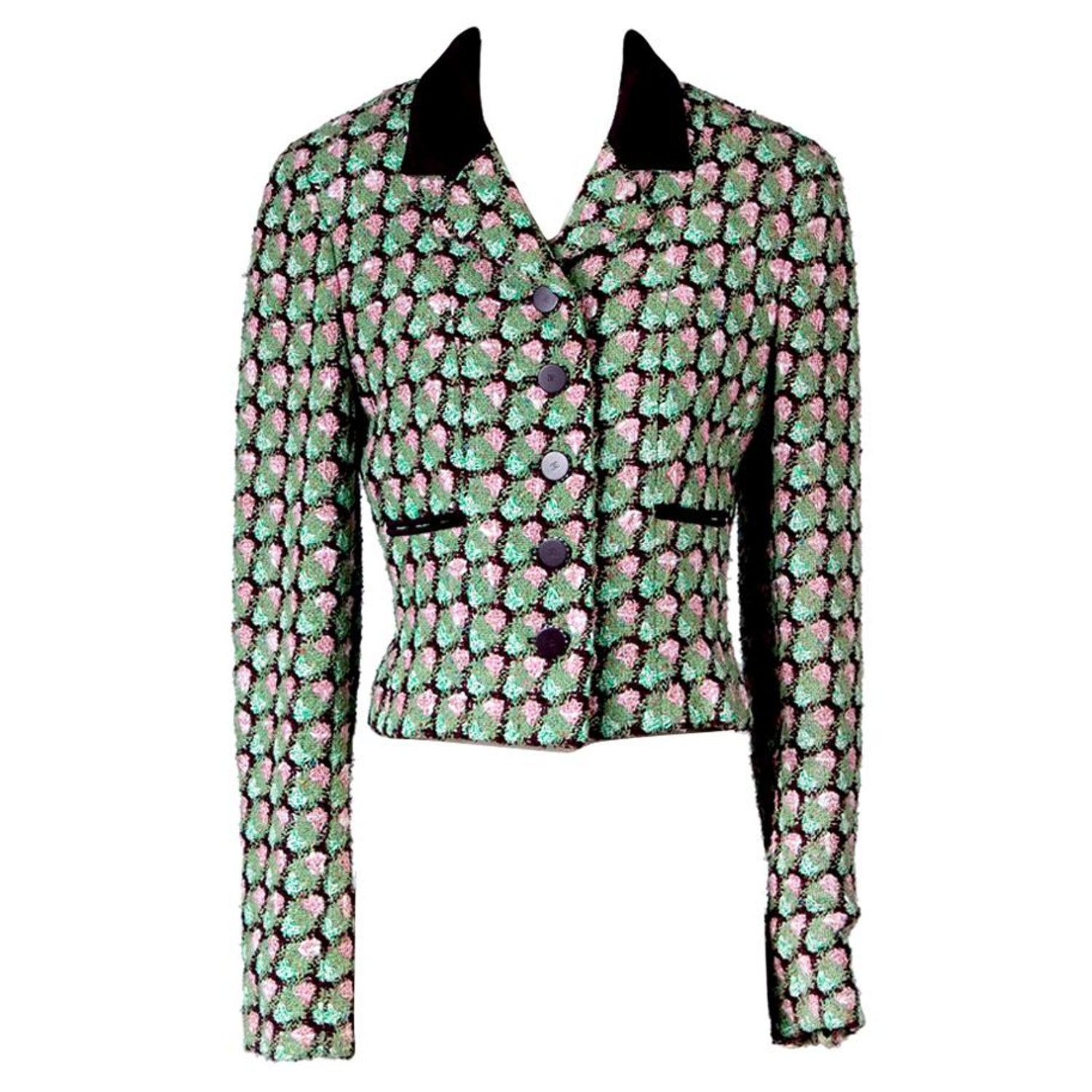 553d4d38a85ada Chanel Pink and Green Tweed Jacket, Spring 2002 at 1stdibs