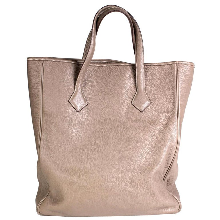 Hermes Victoria 2 Tote in Warm Grey Togo Leather