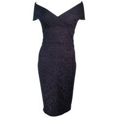 ELIZABETH MASON COUTURE 'MARIA' Black Stretch Lace Cocktail Dress Made to Order
