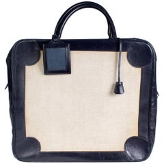 Hermes Omnibus Bag in Navy Leather Trim and Toile Canvas