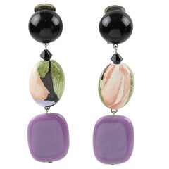 Angela Caputi Purple and Floral Dangling Resin Clip On Earrings