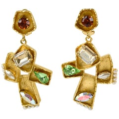 Christian Lacroix Paris Signed Oversized Dangling Jeweled Cross Clip Earrings