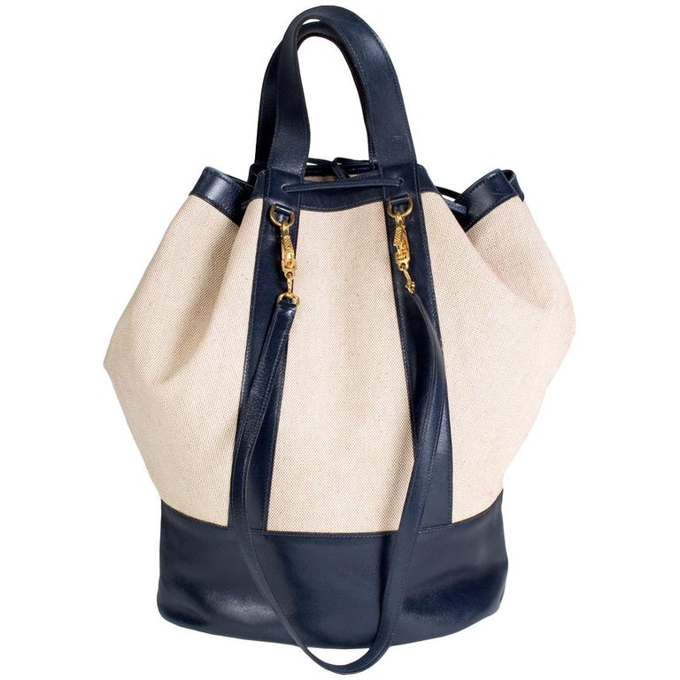 Hermes Navy Leather and Toile Canvas Tote, 1977 For Sale