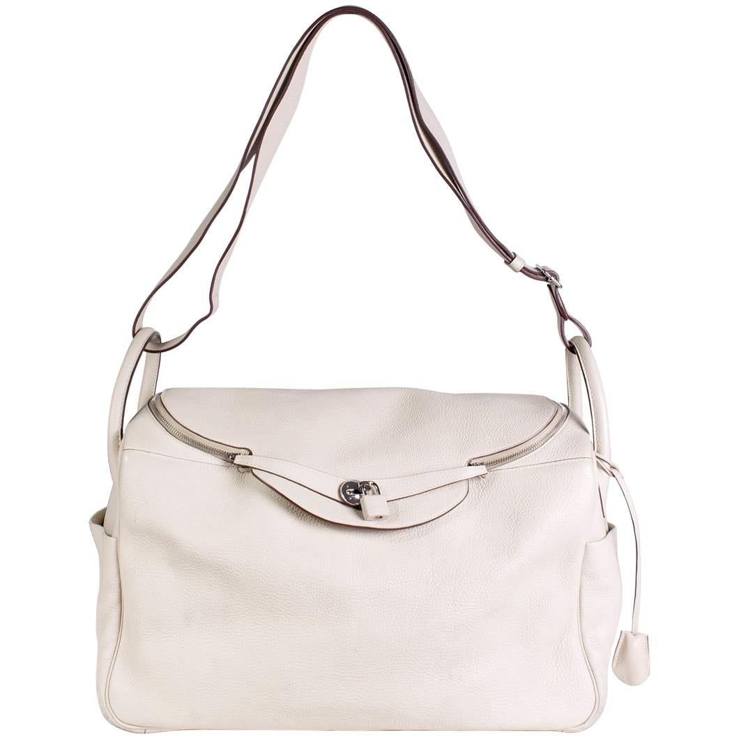 Hermes Lindy Cream Leather Shoulder Duffle Bag, 2008