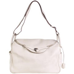 Hermes Lindy Cream Leather Shoulder Duffle Bag, 2008