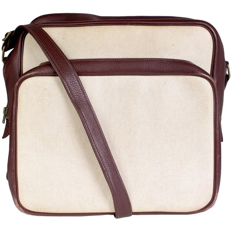 Hermes Helena Sac in Tobacco Leather and Toile Canvas