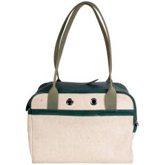 Hermes Green Leather and Toile Canvas Dog Carrier