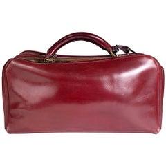 Hermes Burgundy Leather Short Travel Bag