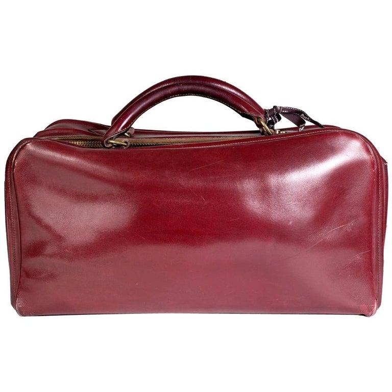 Hermes Burgundy Leather Short Travel Bag For Sale