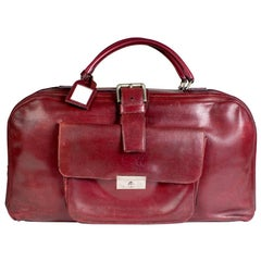 Hermes Burgundy Leather Long Travel Bag