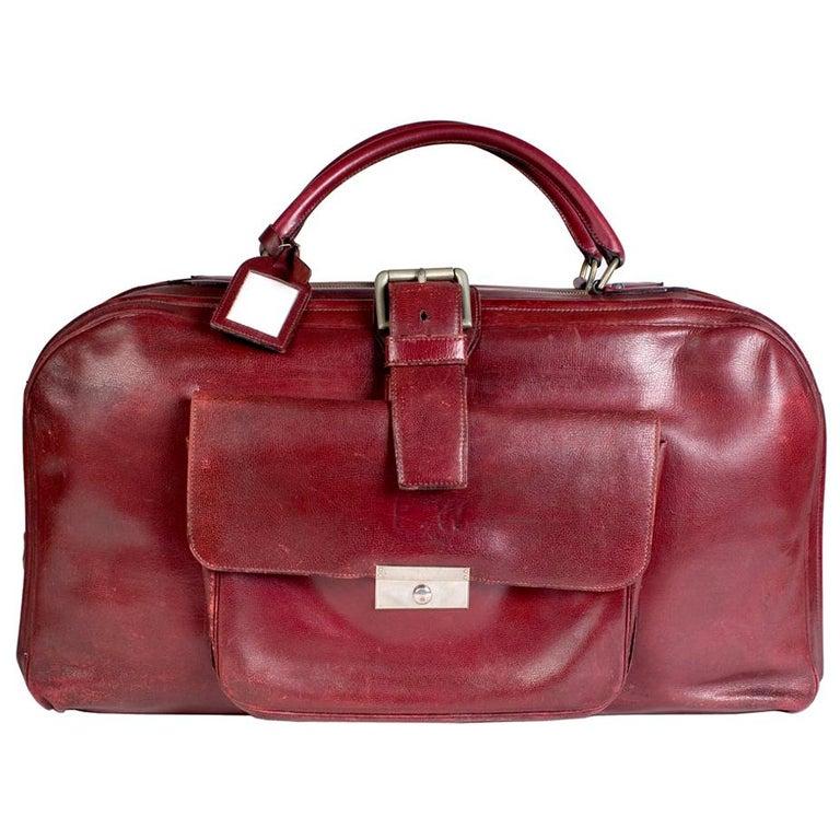 Hermes Burgundy Leather Long Travel Bag For Sale