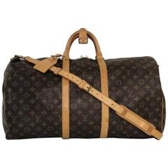 Louis Vuitton Monogram Keepall Bandoliere 55 Travel Handbag